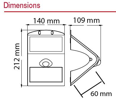 Applique LED Solaire 3.2W Dimension