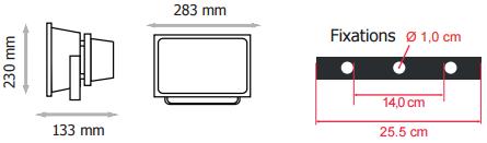 Dimension Projecteur LED 50W RGB