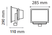 Dimension Projecteur LED 50W detecteur