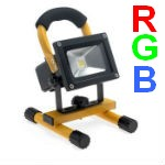 Projecteur LED 10W RGB Portable et Rechargeable IP65 Jaune